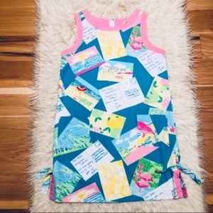 Lilly Pulitzer Boca Blue Postcard Shift Dress Rare